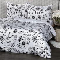 Lenjerie de pat Flowers, al-negru, 140 x 200 cm, 70 x 90 cm