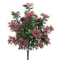 Umělý kvetoucí keřík, růžová