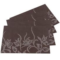 Prostírání Květy tmavě hnědá, 30 x 45 cm, sada 4 ks