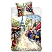 Bavlněné povlečení Paris Café Rue, 140 x 200 cm, 70 x 80 cm