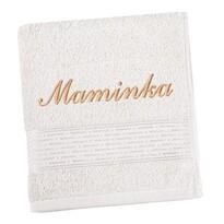 Ručník s výšivkou Maminka bílá, 50 x 100 cm