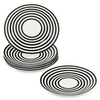 6-dielna sada plytkých tanierov Čierne kruhy