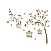 Samolepiaca dekorácia vtáčiky v klietke