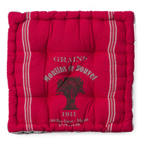 Sedák široký potištěný červená, 36 x 36 cm