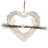 Závesná dekorácia Ratanové srdce s vtáčikmi na vetvičke