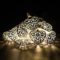 Světelný LED řetěz s 10 kovovými srdíčky, bílá