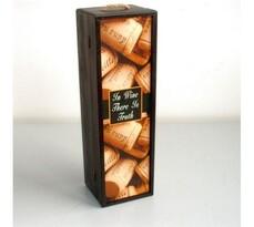 Drevený box na fľašu vína s motívom korku