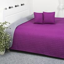 Prehoz na posteľ Doubleface fialová/sivá, 220 x 240 cm, 2x 40 x 40 cm