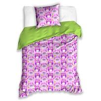 Detské bavlnené obliečky Sovičky fialová, 140 x 200 cm, 70 x 90 cm