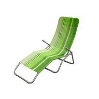 Happy Green Leżak plażowy składany, pasy zielony