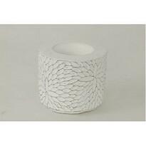 Suport lumânare din ciment Flower alb