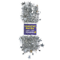 Vánoční řetěz s hvězdami, stříbrná, 4 m + 1 m ZDARMA