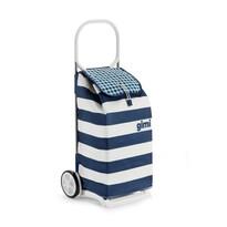 Torba na zakupy z kółkami Italo biało-niebieska