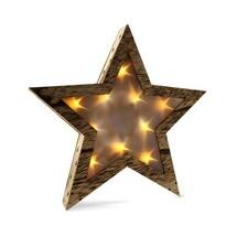 Solight Świąteczna gwiazda drewniana 10 LED, ciepła biała