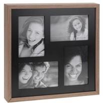Fotorámček Wood na 4 fotografie, čierna + hnedá