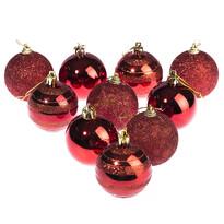Vianočné gule 10 ks, červená