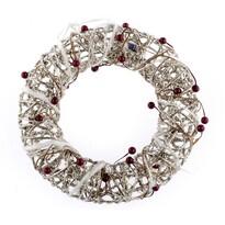 Coroniţă luminoasă de Crăciun, argintiu, diam. 25 cm