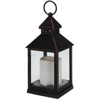 Lampáš s LED sviečkou čierna, 23 cm