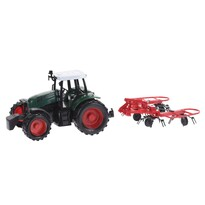Tractor cu accesorii, roşu, 40 cm