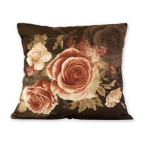 Poszewka na poduszkę Klasic róże czarny, 45 x 45 cm