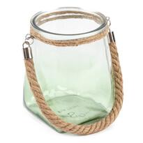 Świecznik szklany do powieszenia, jasnozielony