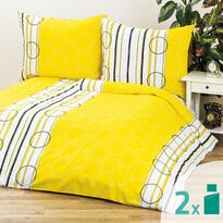 Pościel Clarissa żółty 1 + 1, 140 x 200 cm, 70 x 90 cm