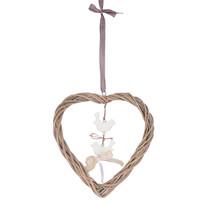 Dekoracja do powieszenia Rattanowe serce z ptaszkami, brązowy