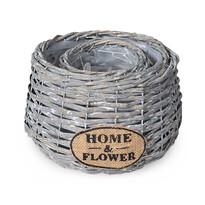 Ghiveci din ratan Home & Flower gri, set 2 buc.