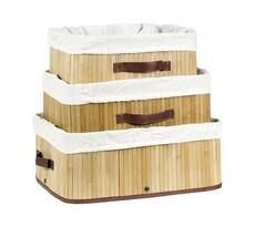 Bambusz kosarak  3 db világos barna