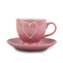 Filiżanka ceramiczna z podstawką Heart 210 ml, jasnoczerwony