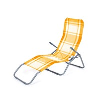 Happy Green Leżak plażowy składany, krata pomarańczowy
