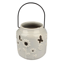 Závěsný keramický svícen šedá, 9,5 cm
