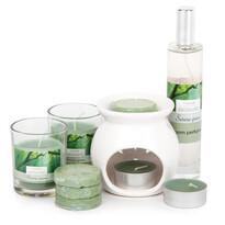 Set lumânări şi aroma-lampă Aromatico Serene green, 10 buc.