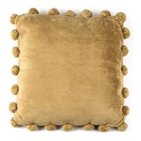 Pompon párna, bézs, 45 x 45 cm
