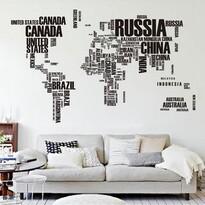 Decoraţiune autoadezivă Harta lumii din litere
