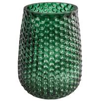 Elegantní skleněná váza, tmavě zelená