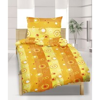 Flanelové obliečky Bublina oranžová, 140 x 200 cm, 70 x 90 cm