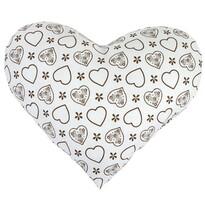 Polštářek Srdce hnědé na bílé, 42 x 48 cm
