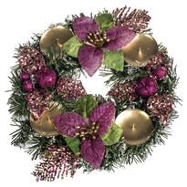 Karácsonyi dekoráció mikulásvirággal, átmérő: 25 cm, rózsaszín