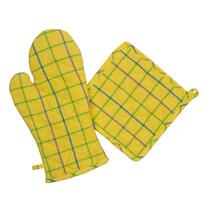Chňapka a podložka žlutozelená, sada 2 ks