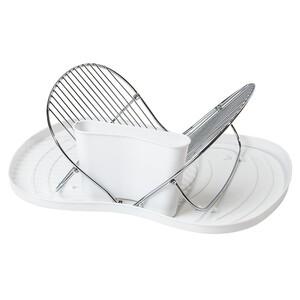 Skládací odkapávač na nádobí, bílá