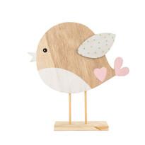 Pasăre din lemn cu aripi albe 22 cm