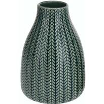 Wazon porcelanowy Knit ciemnozielony, 16 cm