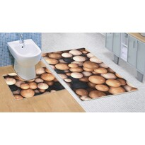 Koupelnová předložka Dřevěné koule 3D, 60 x 100 + 60 x 50 cm