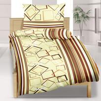 Saténové obliečky Kosoštvorce hnede, 140 x 200 cm, 70 x 90 cm