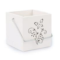 Závesný drevený svietnik motýľ biela