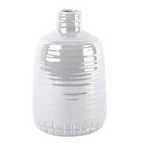 Gyöngyház kerámia váza bézs, 21 cm