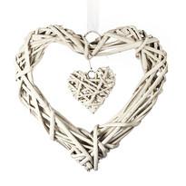 StarDeco Fonott szív lógó dísz fehér, 25 cm