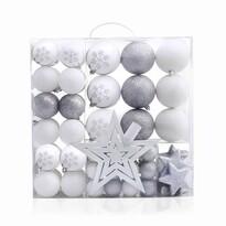 DecoKing Sada vianočných ozdôb Lux biela, 76 ks