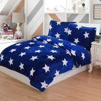 Pościel pluszowa Stars niebieski, 140 x 200 cm, 70 x 90 cm